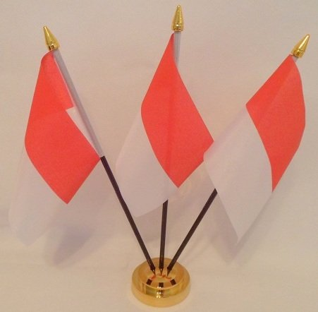 Indonesien Flagge indonesischen 3 Table Desktop-Display, Gold -