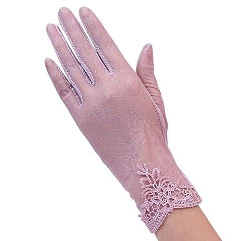 hunpta Women's Summer UV-Proof Driving Gloves Gloves Lace Gloves (Pink)