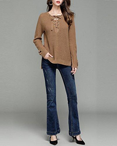 Donna Elegante Casual V Collare Maniche Lunghe Pullover Maglia Maglione Oversize Tops Cammello