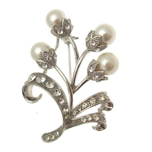 Acosta Jewellery–Kristall Klar & Faux Pearl–Floral Kostüm Schmuck Brosche (Kostüm Pearl Bridal Schmuck)