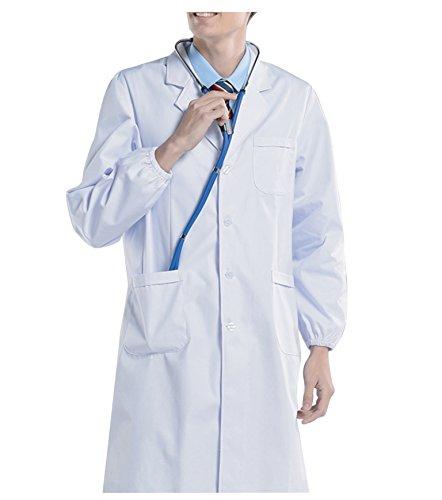Herren Klassische Laborkittel (BSTT Herren Laborkittel Weiß Medizin Arbeitskleidung Uniformen-2018 neue verbesserung Elastische Ärmel dicke S)