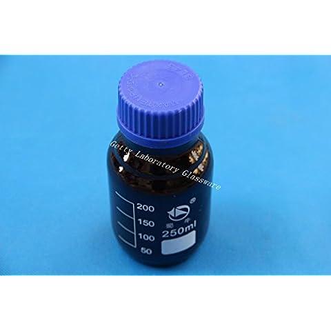 250 ml, motivo: labrador, colore: marrone, vetro ambra-Bottiglia con reagente, Utilizzabile in autoclave, heavy, da parete