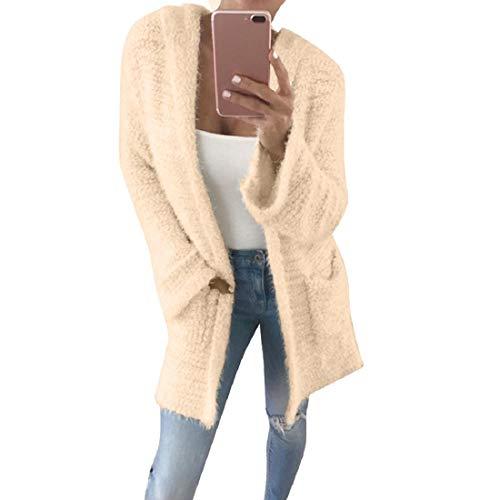 VECDY Damen Winterjacke, Schwarzer Freitag Specials Frauen Mantel Mit Kapuze Strickjacke Tasche Langarm Lässige Lose Warm Outwear Plüsch Mantel Bluse Tops Sweatshirt