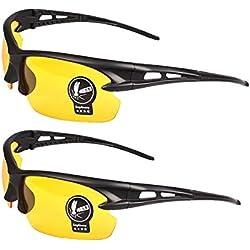 2 Paires Unisexe Lunettes de Soleil Nuit Vision Non-polarisé Jaunes Lentilles Anti-éblouissement UV400 Protection Conduite Pêche Tir Chasse Ski Sports de Plein Air Lunettes pour Hommes Femmes