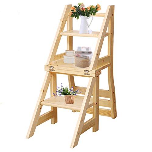 Stuhl Hocker Schritt (WSSF- Klappstufen Doppelt verwendbare feste Kiefer-hölzerne Leiter-Hocker-faltender Schritt-Treppen-Stuhl / Schemel mit 3 Schritten Rutschfester Sicherheits-Schritt-Multifunktions tragbarer kompakter Garten-u. Küchen-Werkzeug-Schemel-Schemel, 42 * 46.5 * 90cm)