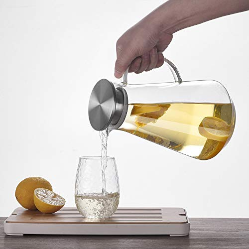 Glass teapot High Boron Silicon Heat Resistant Cool Water Pot Stainless Steel Cover Filter Glass Cold Water Pot