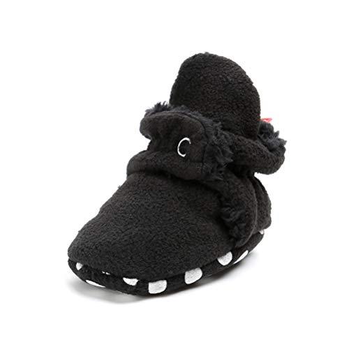 EDOTON Unisex Neugeborenes Schneestiefel Weiche Sohlen Streifen Bootie Kleinkind Stiefel Niedlich Stiefel Socke Einstellbar (6-12 Monate, Schwarz)