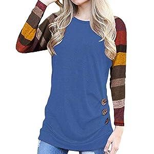 Damen Kurzarm, Frashing Damen Kurzarm Lose Knopfleiste Bluse Einfarbig Rundhals Tunika T-Shirt Damen Tailliertes T-Shirt Basic