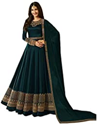 ff82a963ca6 Niza Fashion Women s Faux Georgette Long Anarkali Suit  (Green Anarkali Gown  Free Size)