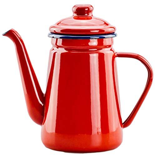 Sothat 1.1L Emaille Kaffee Kanne Hand Tee Wasserkocher Induktion Herd Gasherd Universal Rot
