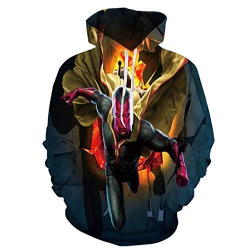 zlhcich Herren Hoodie Sweatshirt 3D Molten Skull Print Mode Lässig Pullover Street Apparel Top
