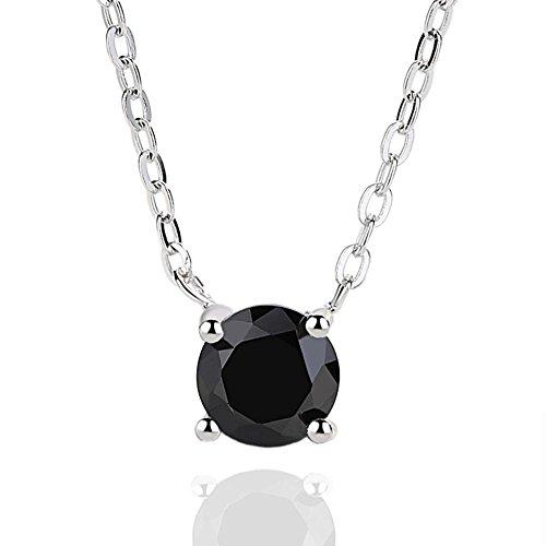 Aoligei 925 Sterling Silber Halskette Mädchen Einfache Exquisite Obsidian Schwarz Kristall Schwarz Zirkon Schlüsselbein Kette Bekleidung Dekorative C Hain (Bekleidung Obsidian Kinder)