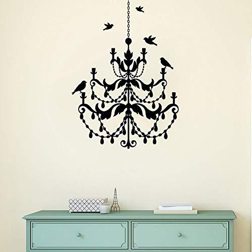 Crjzty Kronleuchter Lampe Wandtattoo Vögel fliegen um Vinyl Wandaufkleber modernes Design Kronleuchter Wandbild Home Schlafzimmer Dekor60x84 cm