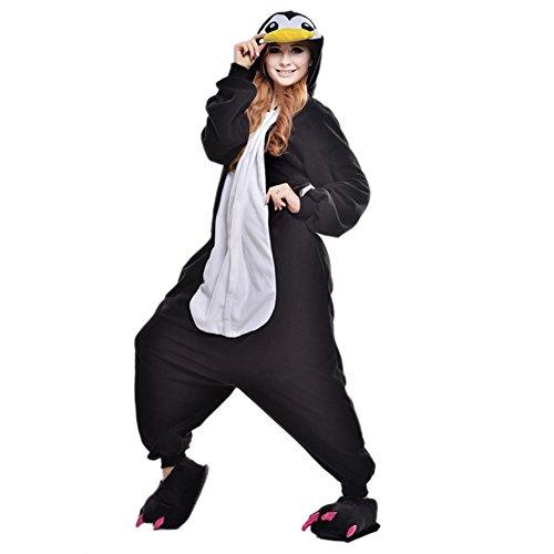 LSERVER Adulte Unisexe Animal Costume Cosplay Combinaison Pyjama Kigurumi Tenue en Flanelle Halloween Soiree de Deguisement, Pingouin, M (Fit For 158-165cm)