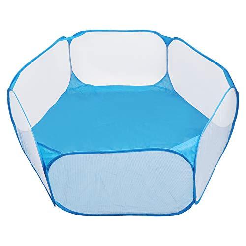 KEESIN Tragbarer Laufstall für Kleintiere, Atmungsaktives Tierkäfigzelt, Pop Up Kinder Bällebad (Blau)