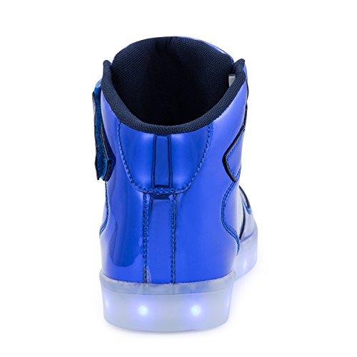 FLARUT 7 Farbe USB Aufladen LED Leuchtend Leuchtschuhe Blinkschuhe Sport Schuhe für Jungen Mädchen Kinder Blau