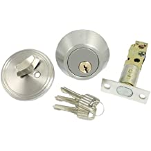 SODIAL(R) Inicio Puerta de seguridad de bloqueo solo cilindro Cerrojo de bloqueo del tono de plata