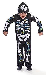 Bristol Novelty Cc443Esqueleto Boy con Capucha/Color Huesos Disfraz (pequeño), tamaño: Edad 3-5años, Esqueleto Boy con Capucha/Color Huesos (S)
