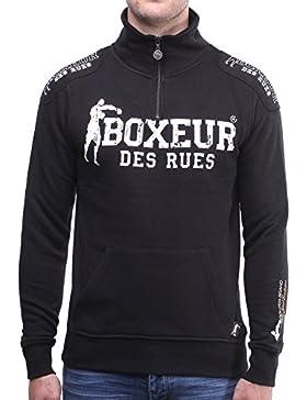 Boxeur Des Rues BXE-4649D Felpa Collo Alto con Chiusura Mezza Zip, Uomo, Nero (Nero), M
