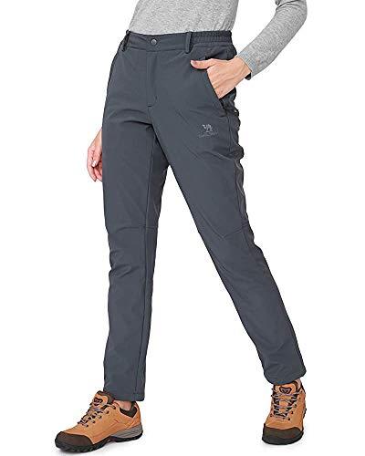 CAMEL CROWN Softshellhose Damen Wasserdicht Winddicht Fleece Gefüttert Outdoor Wandern Skihose Isolierende Hose für Damen -