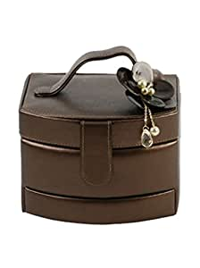 PU Jewellery Box Curved Front Drawer Brown /Flower Corsage