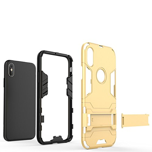 iPhone X Hülle, Lantier Dual Layer Ultra Slim Anti-skid Hybrid Heavy Duty Armor Hard Defender Protective Case Cover with Horizontal Foldout Kickstand für Apple iPhone X (5.8 inch) Gray Schwarz