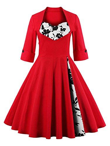 VKStar® Retro Herbst 50er Schleife Abendkleid / Cocktailkleid langarm Rockabilly Swing Kleid Rot-Blume