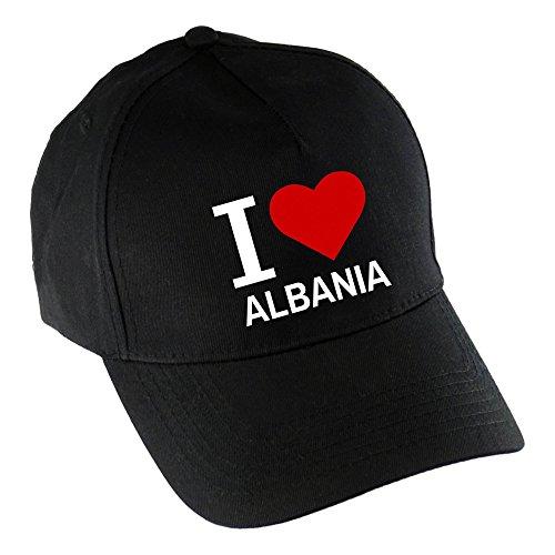 Baseballcap Classic I Love Albania schwarz