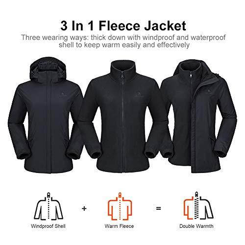 41aKpW woYL. SS500  - CAMEL CROWN Women's Ski Jacket 3 in 1 Waterproof Windproof Softshell Mountain Jacket Fleece Lined for Hiking Snowboard…