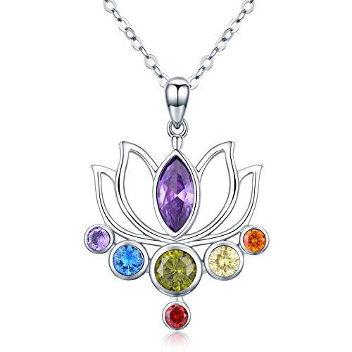 925 Sterling Silber 7 Chakra Healing Anhänger Kette Damen Buddhismus Halsketten Lotus Geschenk für Frauen Yoga