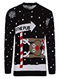 Herren Damen Strickpullover 3D Rudolph Rentier Elfe Weihnachten Pullover (to The Pub Black, XL)