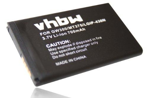 vhbw Li-Ion Akku 700mAh (3.7V) für Handy, Smartphone, Telefon LG Cookie Fresh GS290LG, Lite T300, Style T310 wie SBPL0098901, LGIP-430N.