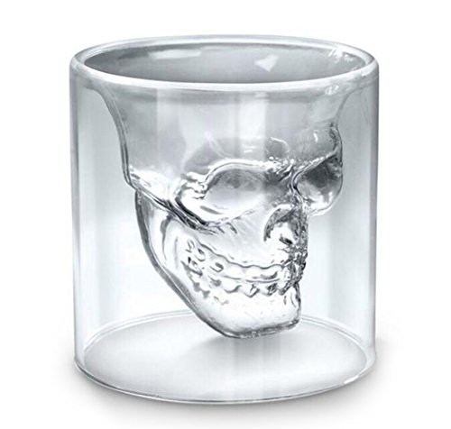 LLQ calavera Shot glassse vasos para agua, zumo, cerveza, vino, whisky, y cócteles