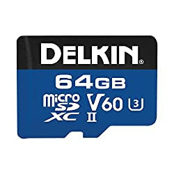 Delkin 64GB microSDXC 1900X UHS-I UHS-II U3 V60 Memory Card DMSD190064GV