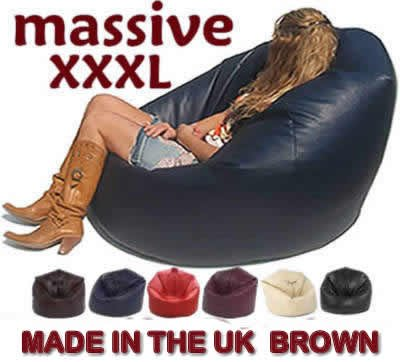 XXX-L BEANBAGS HUGE MEGA SIZE BROWN BEAN BAG 16CUFT FAUX LEATHER BEANBAG GAMING CHAIR