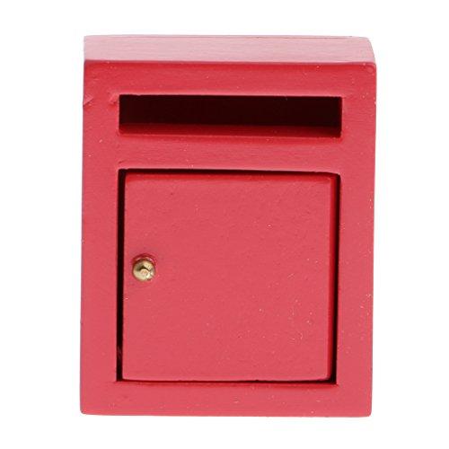 Baoblaze 1:12 Puppenhaus Garten Miniatur Mailbox Briefkasten Briefbox aus Holz - Rot