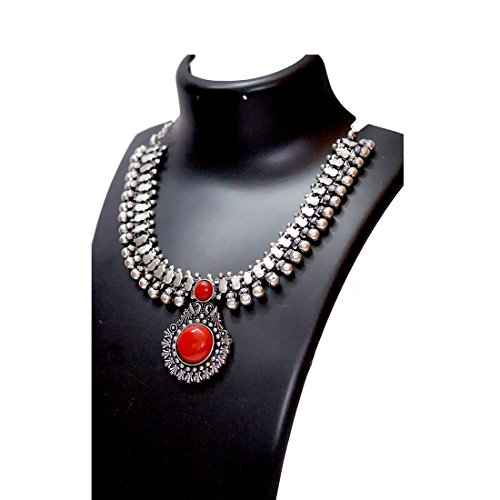 Anigalan – Stone Choker Oxidized German Silver Necklace with Jhumki for Women and Girls
