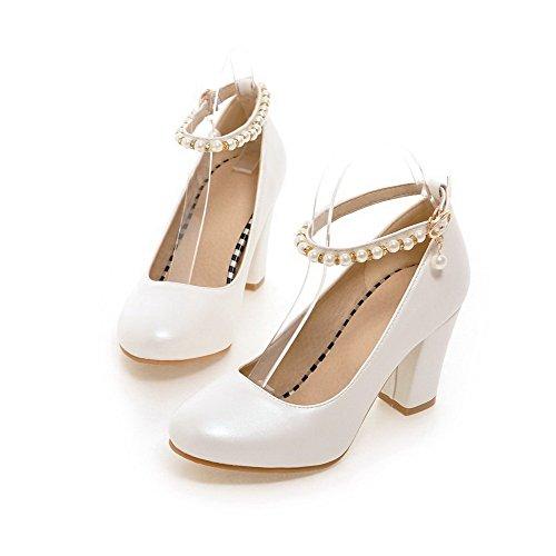 VogueZone009 Damen Weiches Material Schnalle Rund Zehe Hoher Absatz Rein Pumps Schuhe Weiß