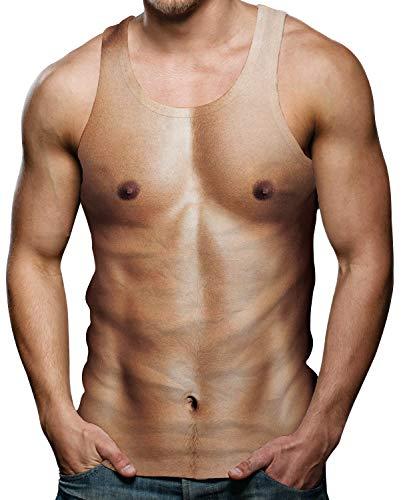 3D Herren Tanktop Colourful Lustige Brustmuskel Gedruckt Muskelshirts Herren Ärmelloses T-Shirt für Sommerurlaub Bunte S -