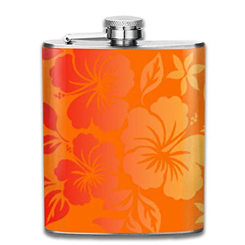 Floral Blend (Island Blend Hawaiian Hibiscus Floral 7 Oz Printed Stainless Steel Hip Flask For Drinking Liquor E.g. Whiskey, Rum, Scotch, Vodka Rust Great Gift)
