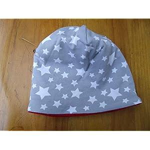 Mütze Babymütze Baby Junge grau weiß Sterne warm Meer Geschenk Geburt Mütze Fleece Winter Neugeborene