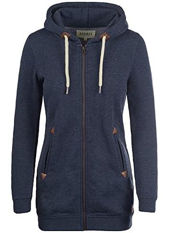 DESIRES Liki Straight-Zip Women's Hooded Jacket Zip, size:S;colour:Insignia Blue Melange (8991)