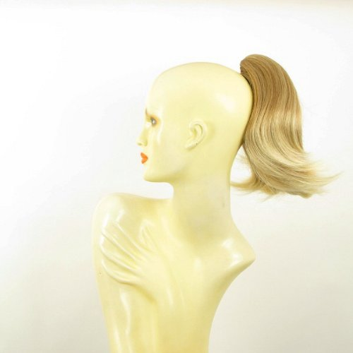 Postiche queue de cheval extension femme courte 28 cm blond clair cuivré méché blond clair ref 9 en 27t613