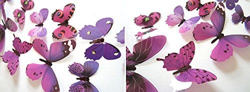 XLGX 3D wandaufkleber kreative Schmetterling Muster wandaufkleber dekorative malerei hochwertige schöne Wohnzimmer Schlafzimmer Dekoration tapete (Lila)