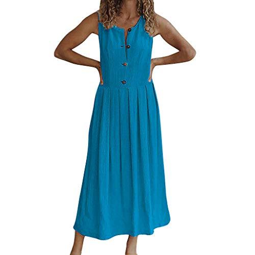 CUTUDE Damen Kleider Röcke Kurzarm Sommerkleider Frauen Rundhals Volltonfarbe Button Ärmellos Strandkleid Maxi-Kleid (Blau, X-Large)