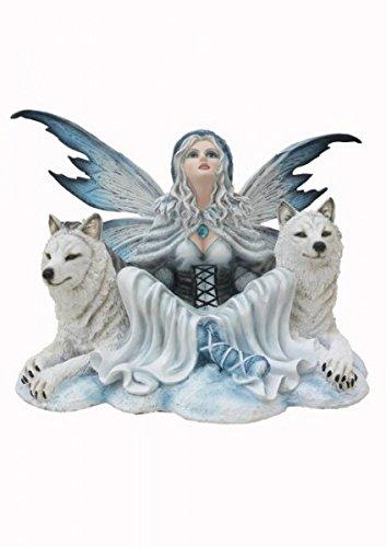 Edle Fee Wulfuria mit 2 weissen Wölfen Fairy Figur Wolf Skulptur 45 cm