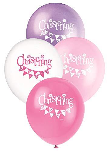 Unique Party Supplies 30,5cm Latex Pink Wimpelkette Taufe Luftballons, 8Stück