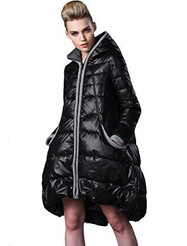 Vogstyle Damen Winter Warm Jacke Mantel mit Kapuze Winterjacke Gefütterter Parka Lang Schwarz L