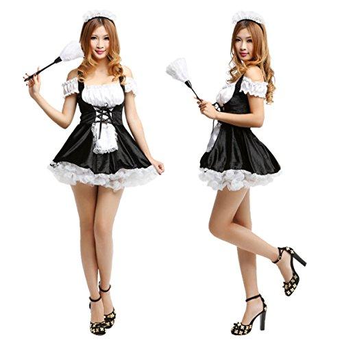 Maid Bar Kostüm (Nihiug Halloween Kostüme Sexy Spaß Nachtclubs Bars Aufführungen Französisch Maids Kürbis Cosplay Größe)
