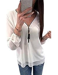Donna Camicetta Bianco Elegante Casuale Di Hipster Mode di marca Autunno  Primaverile Blusa Magliette Colori Solidi 5ccdc190c96